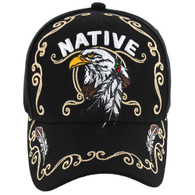 VM219 Native Pride Eagle Velcro Cap (Solid Black)