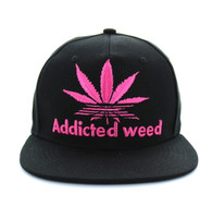 SM270 Addicted Weed Snapback (Solid Black - Hot Pink)