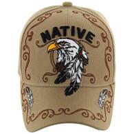 VM219 Native Pride Eagle Velcro Cap (Solid Khaki)