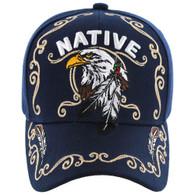 VM219 Native Pride Eagle Velcro Cap (Solid Navy)