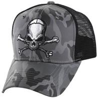 VM021 Skull Mesh Trucker Cap (Grey Camo & Black)