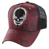 VM229 Skull Mesh Trucker Cap (Burgundy Camo & Black)