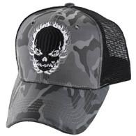 VM229 Skull Mesh Trucker Cap (Grey Camo & Black)