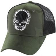 VM229 Skull Mesh Trucker Cap (Olive Camo & Black)