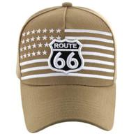 VM186 Route 66 Road Velcro Cap (Solid Khaki)
