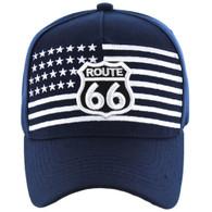 VM186 Route 66 Road Velcro Cap (Solid Navy)