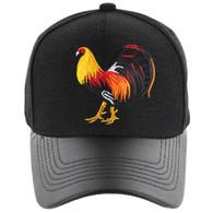 VM200 Cock Baseball Velcro Cap (Black & Black PU)