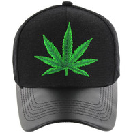 VM200 Marijuana Baseball Hat (Black & Black PU)
