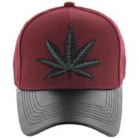 VM200 Marijuana Baseball Hat (Burgundy & Black PU)