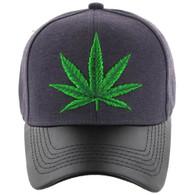 VM200 Marijuana Baseball Hat (Charcoal & Black PU)