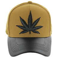 VM200 Marijuana Baseball Hat (Mustard & Black PU)