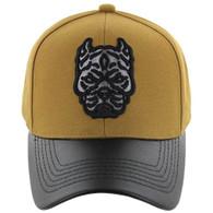 VM200 Pitbull Baseball Velcro Hat (Mustard & Black PU)
