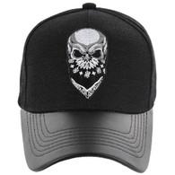 VM200 Skull Baseball Velcro Cap (Black & Black PU)