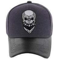 VM200 Skull Baseball Velcro Cap (Charcoal & Black PU)