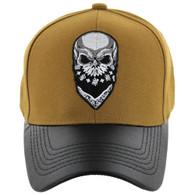 VM200 Skull Baseball Velcro Cap (Mustard & Black PU)