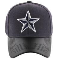 VM200 Big Star Velcro Cap (Charcoal & Black PU) - Stitch