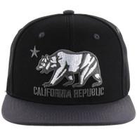 SM025 Cali Bear Snapback (Black & Charcoal)