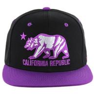 SM025 Cali Bear Snapback (Black & Purple)