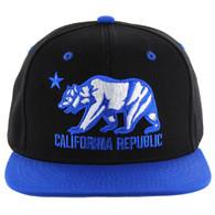 SM025 Cali Bear Snapback (Black & Royal)