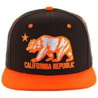 SM025 Cali Bear Snapback (Brown & Orange)