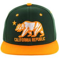 SM025 Cali Bear Snapback (Dark Green & Gold)