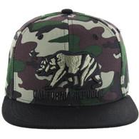 SM025 Cali Bear Snapback (Military Camo & Black)