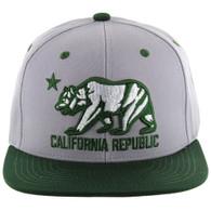 SM025 Cali Bear Snapback (Light Grey & Dark Green)