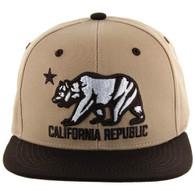SM025 Cali Bear Snapback (Khaki & Brown)