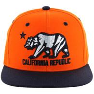 SM025 Cali Bear Snapback (Orange & Navy)
