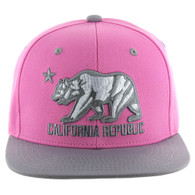 SM025 Cali Bear Snapback (Light Pink & Light Grey)