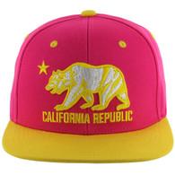 SM025 Cali Bear Snapback (Hot Pink & Gold)