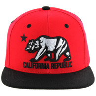 SM025 Cali Bear Snapback (Red & Black)