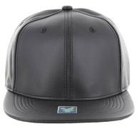 SP1001 Blank PU Snapback Hat (Solid Black)