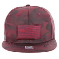 SM1002 California Bear Snapback Cap Hat (Burgundy Camo)