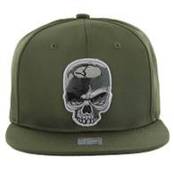 SM013 Skull Snapback (Solid Olive)