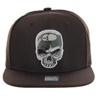 SM013 Skull Snapback (Solid Brown)