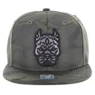 SM569 Pitbull Snapback Hat (Solid Olive Military Camo)