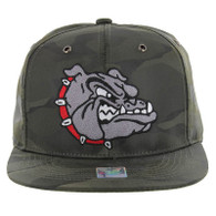 SM558 Bulldog Snapback Hat (Solid Olive Military Camo)