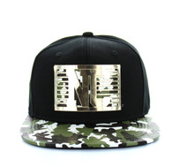 SM473 North Carolina State Metal Snapback (Black & Military Camo)
