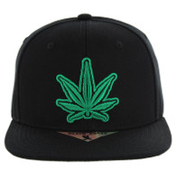 SM281 Marijuana Snapback Cap (Black & Black)