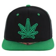 SM281 Marijuana Snapback Cap (Black & Kelly Green)