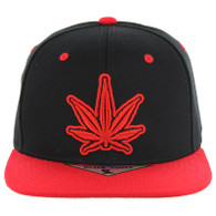 SM281 Marijuana Snapback Cap (Black & Red)