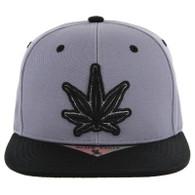 SM281 Marijuana Snapback Cap (Charcoal & Black)