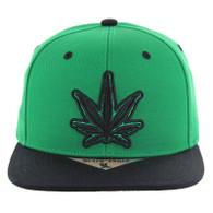 SM281 Marijuana Snapback Cap (Kelly Green & Black)