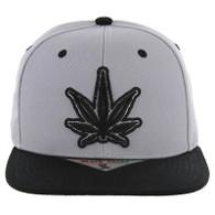 SM281 Marijuana Snapback Cap (Light Grey & Black)