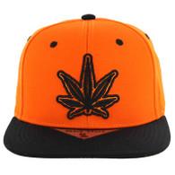 SM281 Marijuana Snapback Cap (Orange & Black)