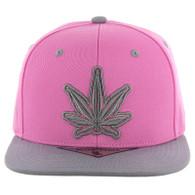 SM281 Marijuana Snapback Cap (Light Pink & Light Grey)