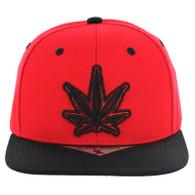 SM281 Marijuana Snapback Cap (Red & Black)