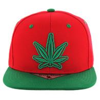 SM281 Marijuana Snapback Cap (Red & Kelly Green)