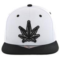 SM281 Marijuana Snapback Cap (White & Black)